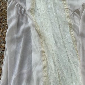 Astr Dresses - ASTR Lace Sheer Layered Cream Maxi Dress Medium